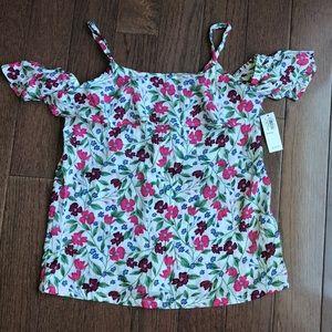 Girls floral off the shoulder shirt//size 10-12